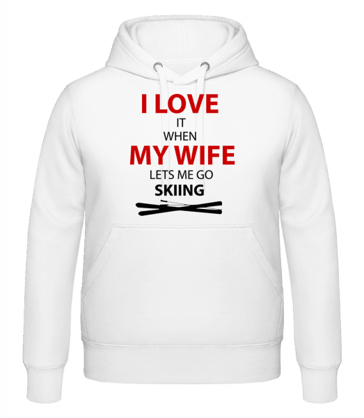 I Love Wife And Skiing - Kapuzenhoodie - Weiß - Vorn