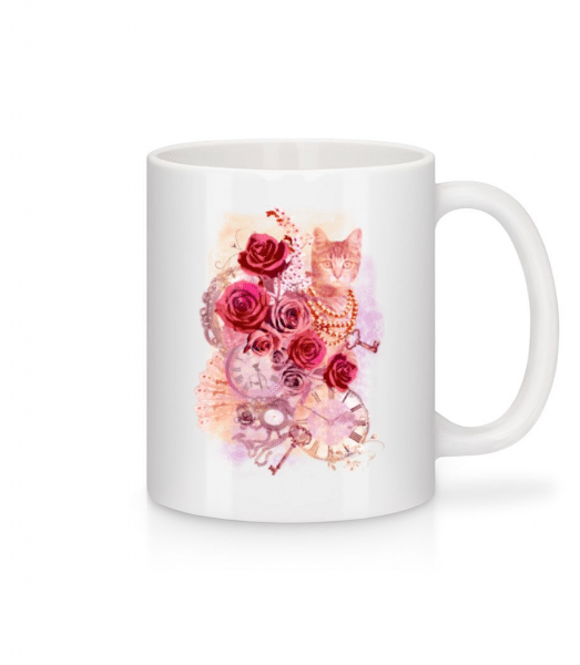 Rose Cat - Mug - White - Front