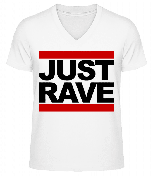 Just Rave Logo - Men's V-Neck Organic T-Shirt - White - Vorn