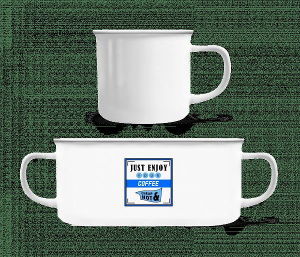 Just Enjoy - Enamel-cup - White - Vorn