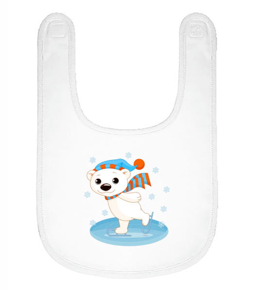 Bear On The Ice - Baby Bib - White - Vorn