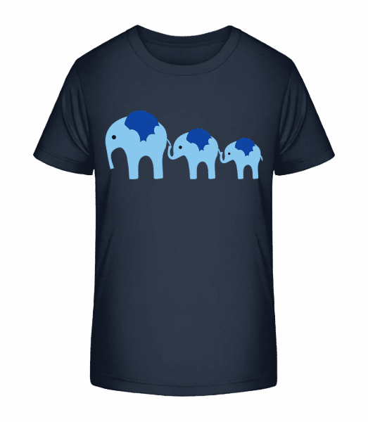 Elephants Family Baby - Kid's Premium Bio T-Shirt - Navy - Vorn
