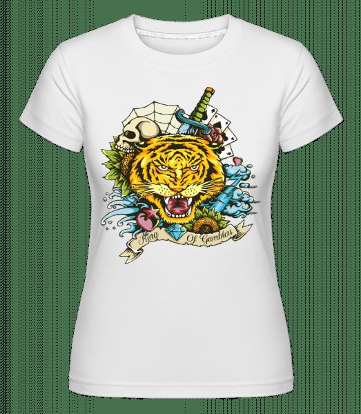 Tiger Tattoo Flash -  Shirtinator Women's T-Shirt - White - Vorn