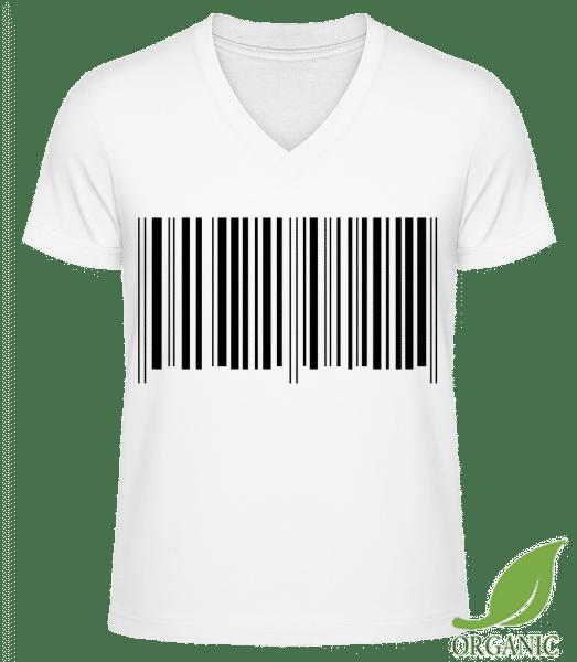 Barcode - Männer Bio V-Neck T-Shirt - Weiß - Vorn