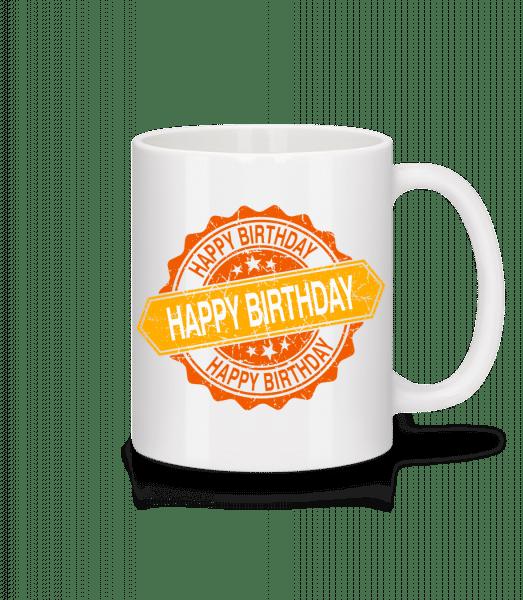 Happy Birthday Logo - Tasse - Weiß - Vorn