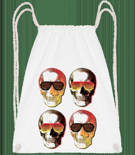 Stylish Skulls - Drawstring Backpack - White - Vorn