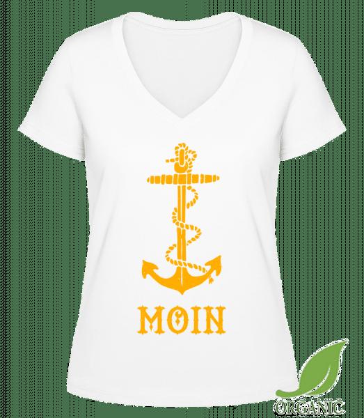 Moin Anker Hamburg - Janet Bio T-Shirt V-Ausschnitt - Weiß - Vorn