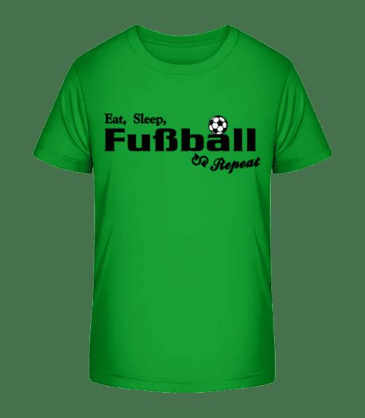 Eat, Sleep, Fußball & Repeat - Kinder Premium Bio T-Shirt - Grün - Vorn