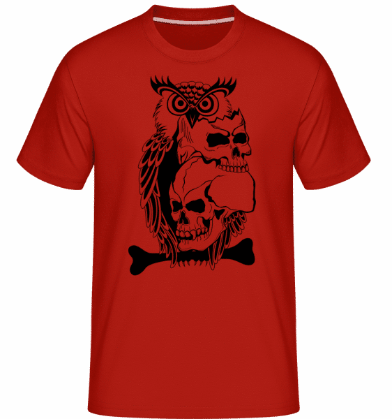 Sovy Skulls Tattoo -  Shirtinator tričko pre pánov - Červená - Predné