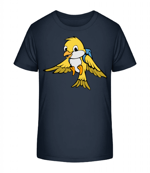 Cute Bird With Bag - Kid's Premium Bio T-Shirt - Navy - Front