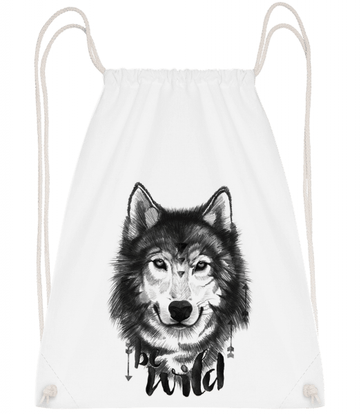 Be Wild - Drawstring Backpack - White - Vorn