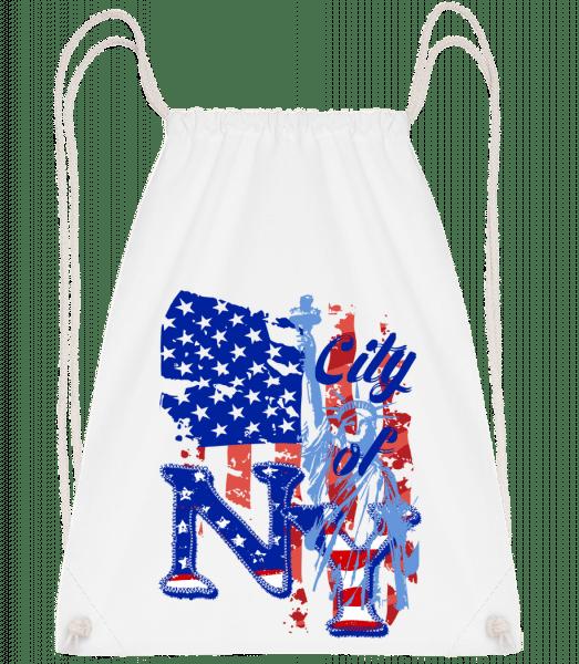 City Of NY - Drawstring Backpack - White - Vorn