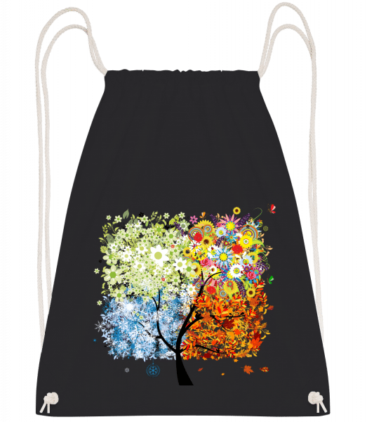 Four Seasons Tree - Drawstring Backpack - Black - Vorn