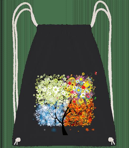 Vier Jahreszeiten Baum - Turnbeutel - Schwarz - Vorn
