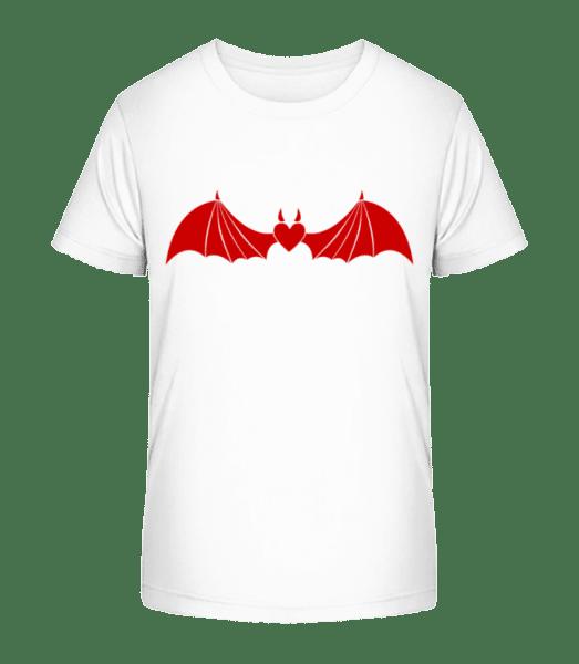 Diabol srdce s krídlami - Detské Premium Bio tričko - Biela - Predné