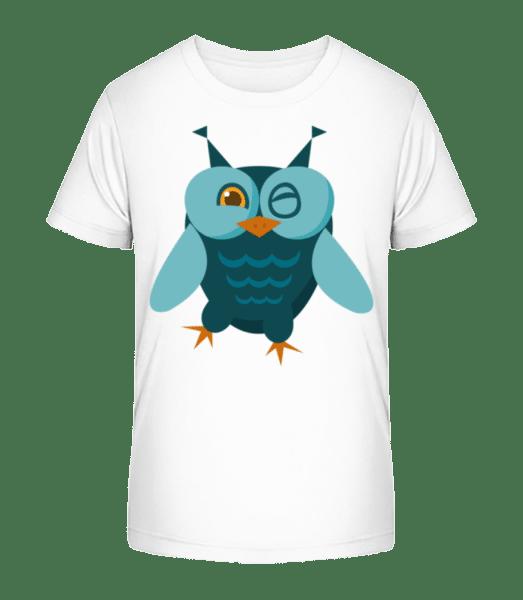 Eule Comic - Kinder Premium Bio T-Shirt - Weiß - Vorn