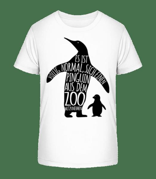 Pinguin Zum Mitnehmen - Kinder Premium Bio T-Shirt - Weiß - Vorn