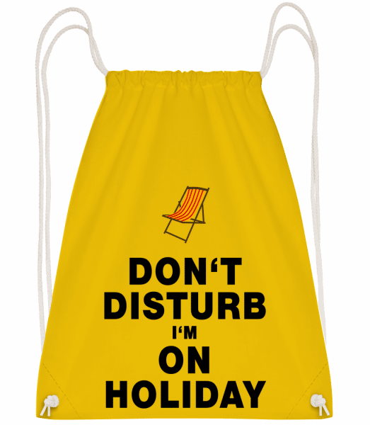 Don't Disturb I'm On Holiday - D - Drawstring Backpack - Yellow - Vorn
