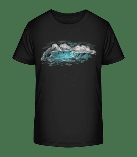 Surfer Wave - Detské Premium Bio tričko - Čierna - Predné