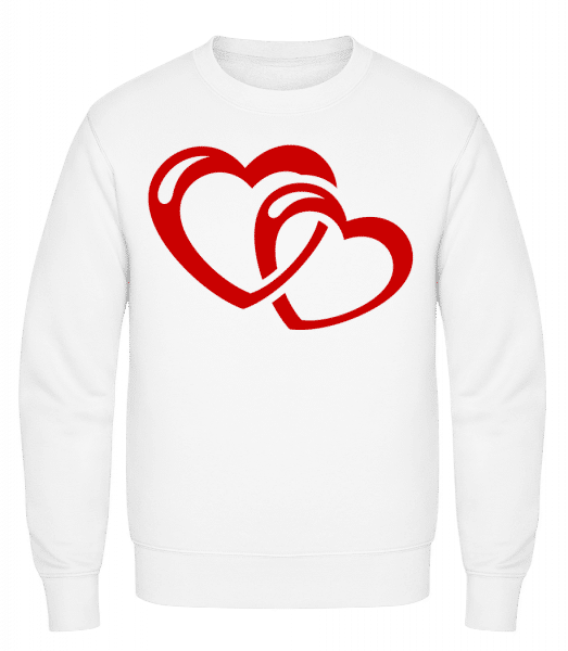 Hearts Icon Red - Classic Set-In Sweatshirt - White - Vorn