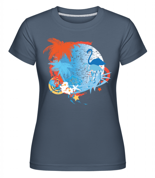 Flamingos In Paradise Blue/Orang -  T-shirt Shirtinator femme - Bleu denim - Vorn