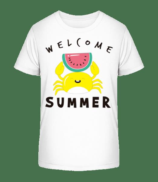 Welcome Summer Crab - Kid's Premium Bio T-Shirt - White - Vorn