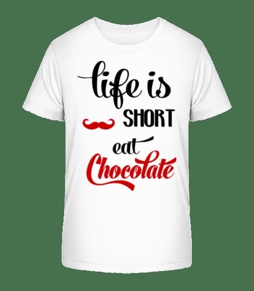 Život je krátký, jíst čokoládu - Detské Premium Bio tričko - Bílá - Napřed