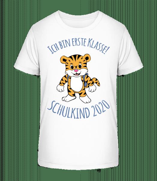 Kleiner Tiger Mit Schulranzen 2020 - Kinder Premium Bio T-Shirt - Weiß - Vorn