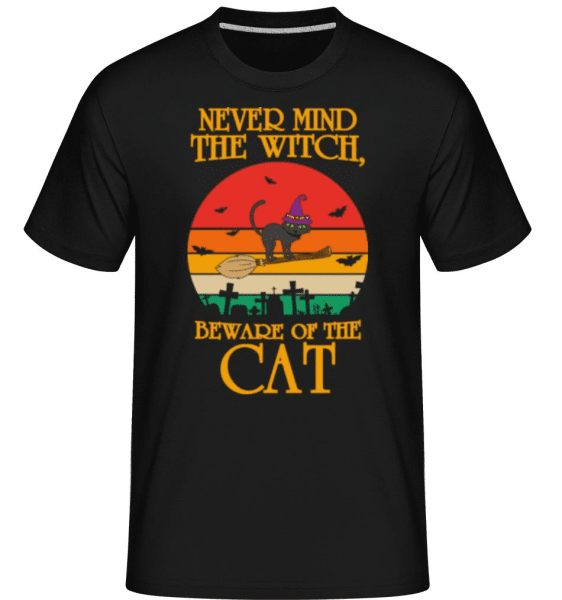 Nevermind The Witch Beware Of The Cat -  Shirtinator Men's T-Shirt - Black - Front