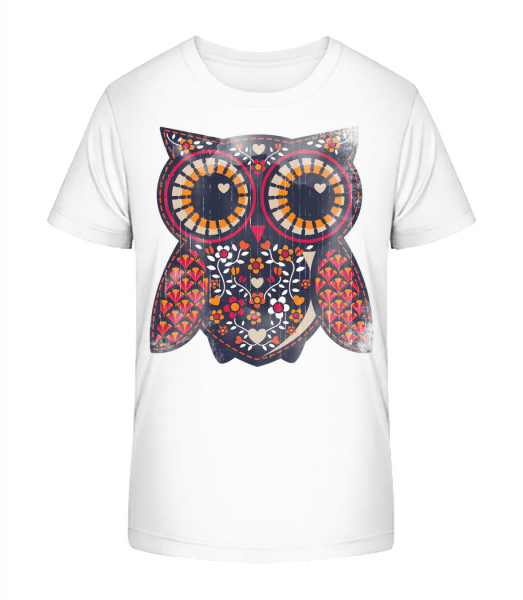 Art Owl - Kid's Premium Bio T-Shirt - White - Front