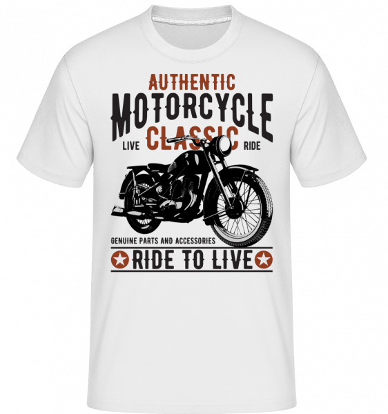 Authentic Motorcycle -  Shirtinator Men's T-Shirt - White - Front