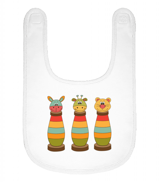 Baby Comic - Animals - Baby Bib - White - Vorn