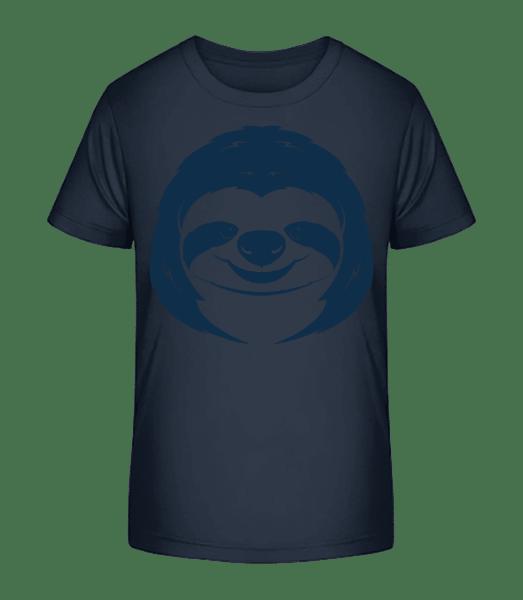 Cute Sloth Face - Kid's Premium Bio T-Shirt - Navy - Front