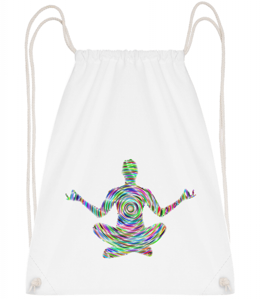 Meditation Yoga - Drawstring Backpack - White - Vorn