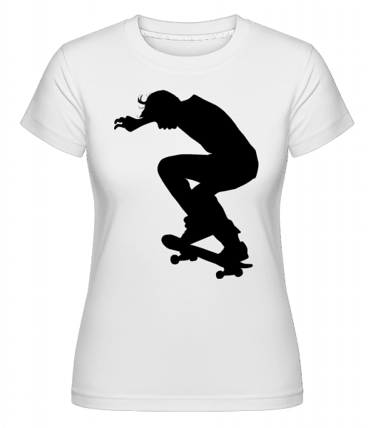 Skater Landing -  Shirtinator Women's T-Shirt - White - Front
