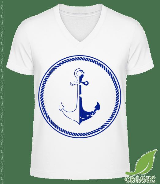 Anchor Symbol - Männer Bio V-Neck T-Shirt - Weiß - Vorn