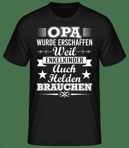 Opa Der Held Der Enkelkinder - Männer Basic T-Shirt - Schwarz - Vorn