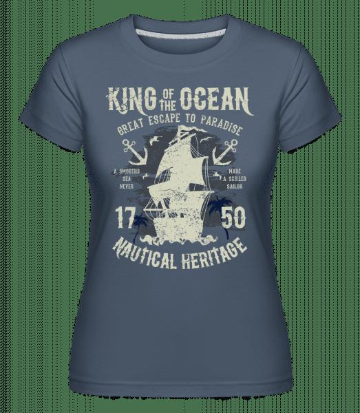 King Of The Ocean -  Shirtinator Women's T-Shirt - Denim - Vorn
