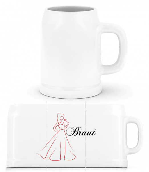 Bride Icon Red - Beer Mug - White - Vorn
