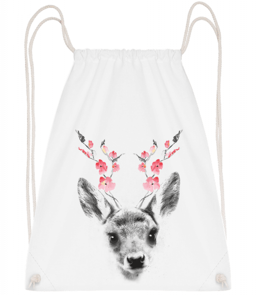 Spring Deer - Drawstring Backpack - White - Vorn