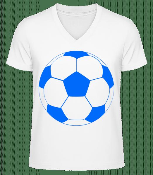 Football - Men's V-Neck Organic T-Shirt - White - Vorn