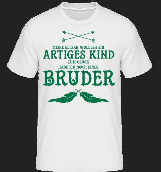 Zum Glück Habe Ich Einen Bruder - Shirtinator Männer T-Shirt - Weiß - Vorn