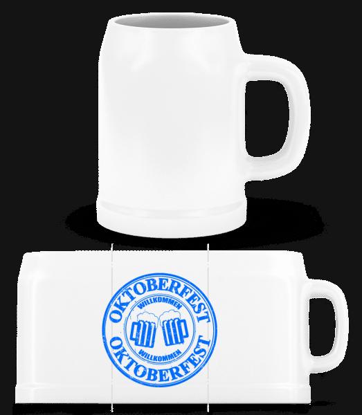 Oktoberfest Logo - Bierkrug - Weiß - Vorn