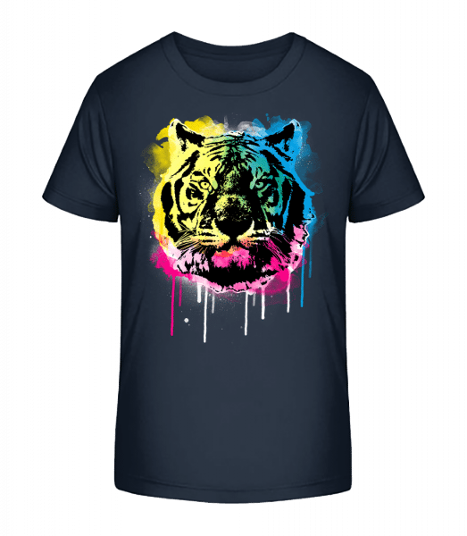 Multicolor Tiger - Kid's Premium Bio T-Shirt - Navy - Vorn