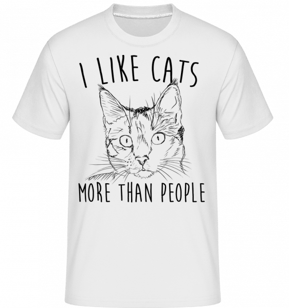 I Like Cats More Than People -  Shirtinator Men's T-Shirt - White - Vorn