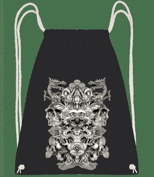 Dragons And Skulls - Drawstring Backpack - Black - Vorn