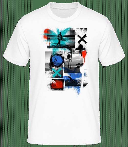 Surfování a Graffiti - Pánské basic tričko - Bílá - Napřed