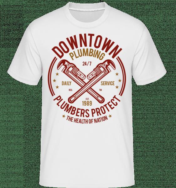 Downtown Plumbing -  Shirtinator Men's T-Shirt - White - Front