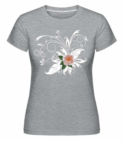 Pink White Rose -  Shirtinator Women's T-Shirt - Heather grey - Vorn