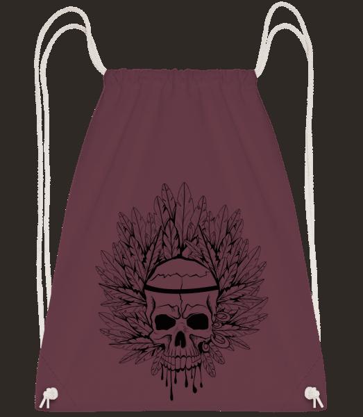 Skull Indian Tattoo - Drawstring Backpack - Bordeaux - Vorn